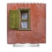 Green Window On A Red Wall Shower Curtain