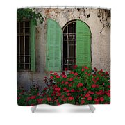 Green Windows And Red Geranium Flowers Shower Curtain by Yair Karelic