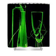 Green Wine Glasses And A Bottle Shower Curtain