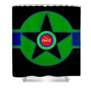 Green With Blue Shower Curtain