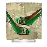 Green With Envy Pumps Shower Curtain