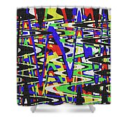 Green Yellow Blue Red Black And White Abstract Shower Curtain