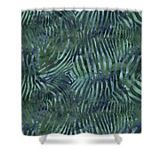Green Zebra Print Shower Curtain