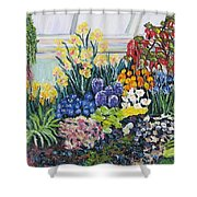 Greenhouse Flowers With Blue And Red Shower Curtain