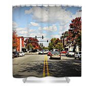 Greensboro Georgia Corner Of Main Street And Broad Street Fall Leaves Greensboro Georgia Art Shower Curtain