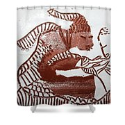 Greeting 5 - Tile Shower Curtain