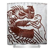 Greeting 9 - Tile Shower Curtain