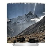 Greeting To Mountain By Sun Shower Curtain