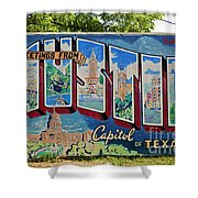 Greetings From Austin Capital Of Texas Postcard Mural Shower Curtain