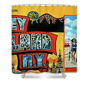 Greetings from coney island towel verson painting by bonnie siracusa greetings from coney island towel verson shower curtain m4hsunfo