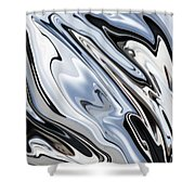 Grey And Black Metal Marbling Effect Abstract Shower Curtain