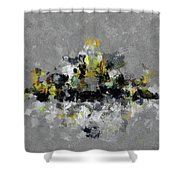 Grey And Yellow Abstract Cityscape Art Shower Curtain