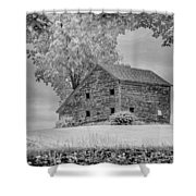 Grey Barn On A Grey Day Shower Curtain