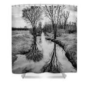 Grey Divide Shower Curtain