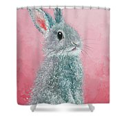 Grey Easter Bunny Shower Curtain