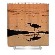 Grey Heron Sunset Shower Curtain