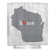 State Map Outline Wisconsin With Heart In Home Shower Curtain