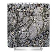 Grey Rocky Shore. Shower Curtain