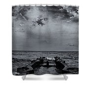 Grey Sun Shower Curtain