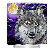 Grey Wolf And Full Moon Shower Curtain