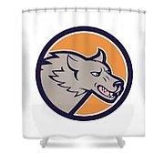 Grey Wolf Head Angry Circle Cartoon Shower Curtain