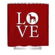 Greyhound Love Red Shower Curtain