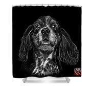 Greyscale Cocker Spaniel Pop Art - 8249 - Bb Shower Curtain