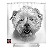 Greyscale West Highland Terrier Mix - 8674 - Wb Shower Curtain