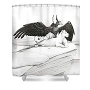 Griffin And Lioness Shower Curtain