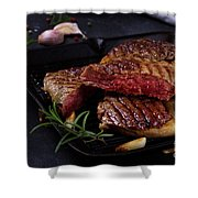 Grilled Beef Steak Shower Curtain