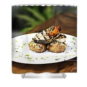 Grilled Fish With Roast Potato Herbs And Garlic Shower Curtain