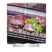 Grilled Meat Shower Curtain