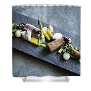 Grilled Pork Sour Cream And Vegetables On Modern Grey Slate Shower Curtain
