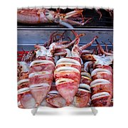 Grilled Squid For Sale Shower Curtain