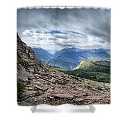 Grinnell Glacier Overlook Panorama - Glacier National Park Shower Curtain