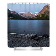 Grinnell Point Over Swiftcurrent Lake Shower Curtain