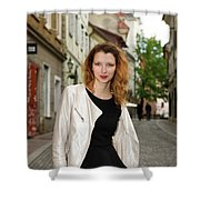 Grinning Attractive Woman Standing On Cobblestone Street Of Uppe Shower Curtain