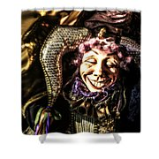 Grinning Mardi Gras Jester Shower Curtain