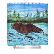Grizzley Catching Fish In Stream Shower Curtain