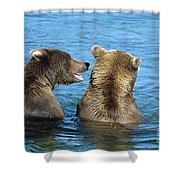 Grizzly Bear Talk Shower Curtain