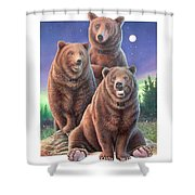 Grizzly Bears In Starry Night Shower Curtain