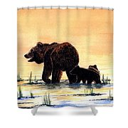 Grizzly Bears Shower Curtain