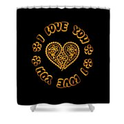 Groovy Golden Heart And I Love You Shower Curtain