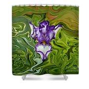 Groovy Purple Iris Shower Curtain by Rebecca Margraf