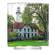 Grosse Point Light Station Shower Curtain