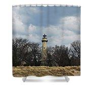 Grosse Point Lighthouse Portrait Shower Curtain