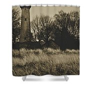 Grosse Point Lighthouse Sepia Shower Curtain