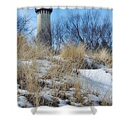 Grosse Point Lighthouse Winter Dunes Shower Curtain