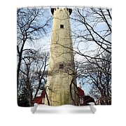Grosse Point Lighthouse Winter Shower Curtain