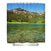 Grotto Pond Canmore Alberta Shower Curtain